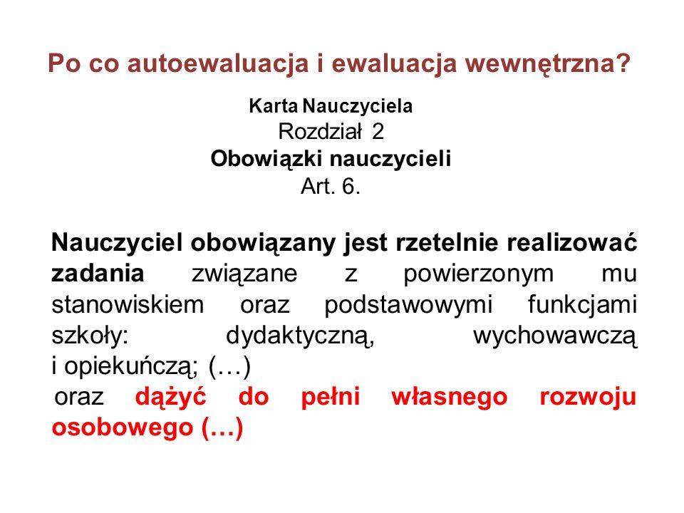 Bibliografia Autoewaluacja w szkole; pod redakcją E.Tołwińskiej-Królikowskiej, Warszawa 2010 Jakość edukacji.