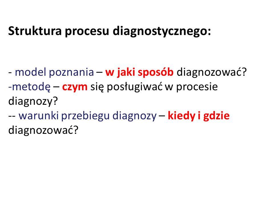 Struktura procesu diagnostycznego: - model poznania – w jaki sposób diagnozować? -metodę – czym się posługiwać w procesie diagnozy? -- warunki przebie