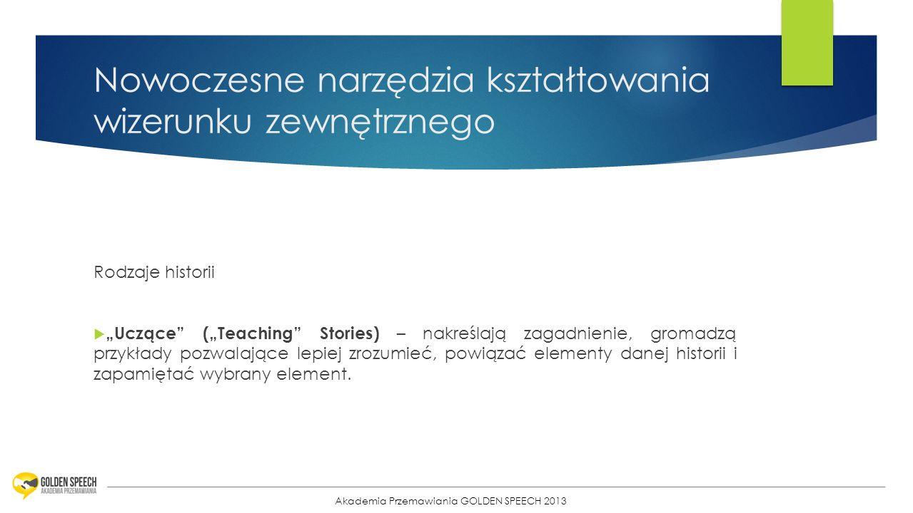11 Nowoczesne narzędzia kształtowania wizerunku zewnętrznego Rodzaje historii Uczące (Teaching Stories) – nakreślają zagadnienie, gromadzą przykłady p