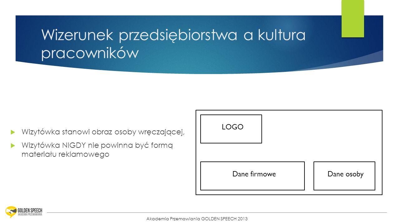 26 Wizerunek przedsiębiorstwa a kultura pracowników Wizytówka stanowi obraz osoby wręczającej, Wizytówka NIGDY nie powinna być formą materiału reklamo