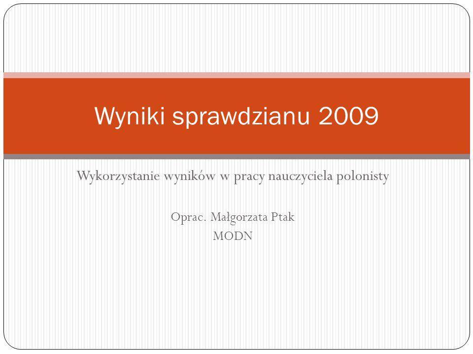Wykorzystanie wyników w pracy nauczyciela polonisty Oprac. Małgorzata Ptak MODN Wyniki sprawdzianu 2009