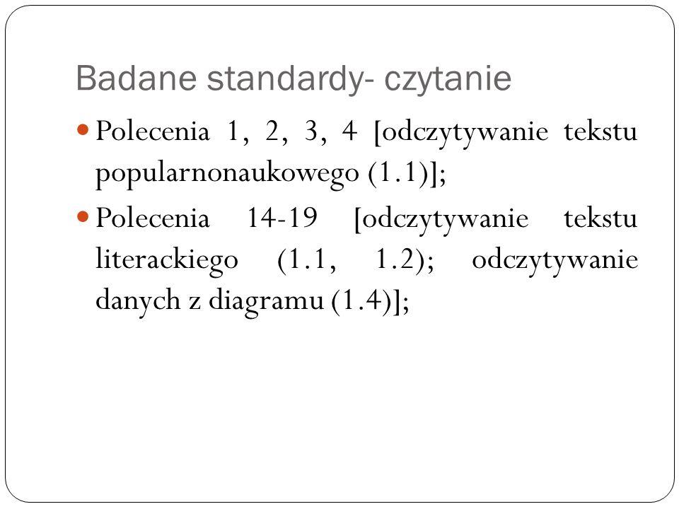 Badane standardy- czytanie Polecenia 1, 2, 3, 4 [odczytywanie tekstu popularnonaukowego (1.1)]; Polecenia 14-19 [odczytywanie tekstu literackiego (1.1, 1.2); odczytywanie danych z diagramu (1.4)];