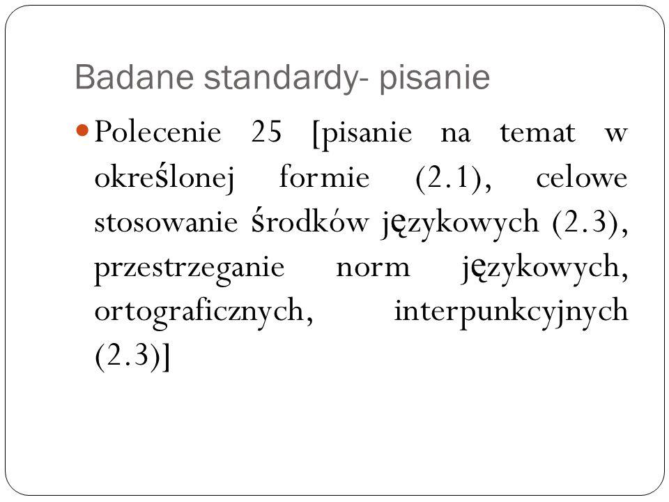 Badane standardy- pisanie Polecenie 25 [pisanie na temat w okre ś lonej formie (2.1), celowe stosowanie ś rodków j ę zykowych (2.3), przestrzeganie norm j ę zykowych, ortograficznych, interpunkcyjnych (2.3)]