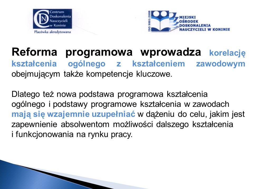Reforma programowa wprowadza korelację kształcenia ogólnego z kształceniem zawodowym obejmującym także kompetencje kluczowe. Dlatego też nowa podstawa