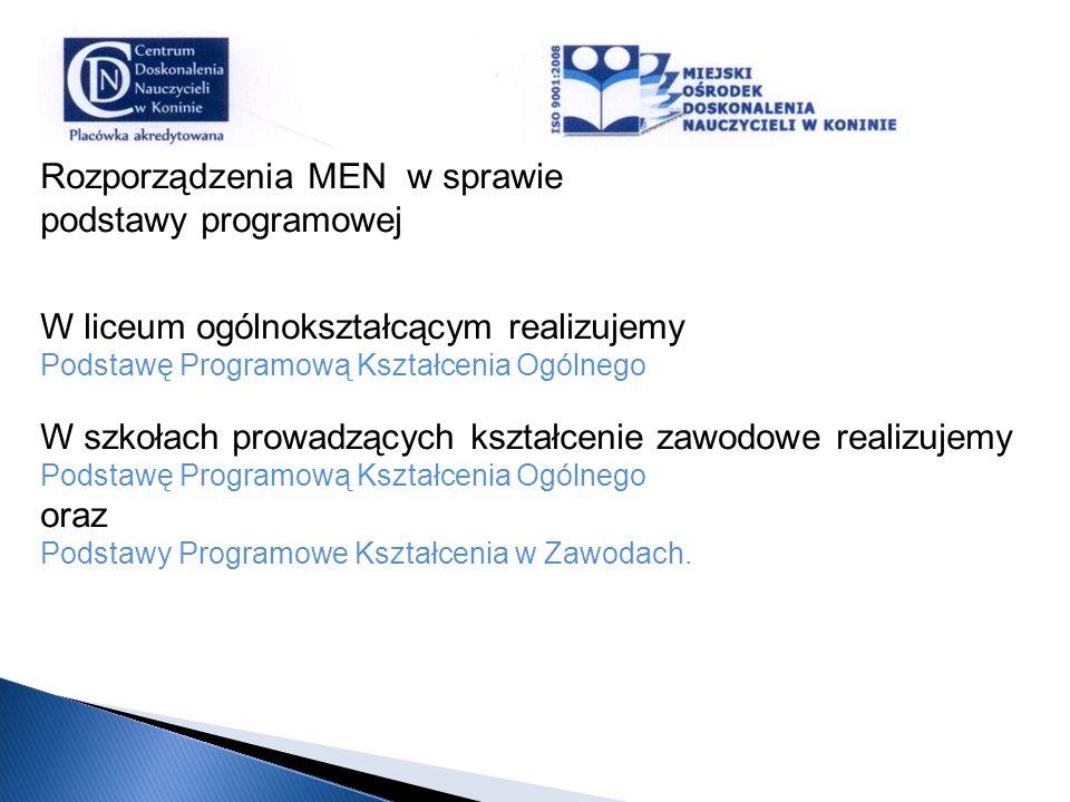 Rozporządzenia MEN w sprawie podstawy programowej W liceum ogólnokształcącym realizujemy Podstawę Programową Kształcenia Ogólnego W szkołach prowadząc
