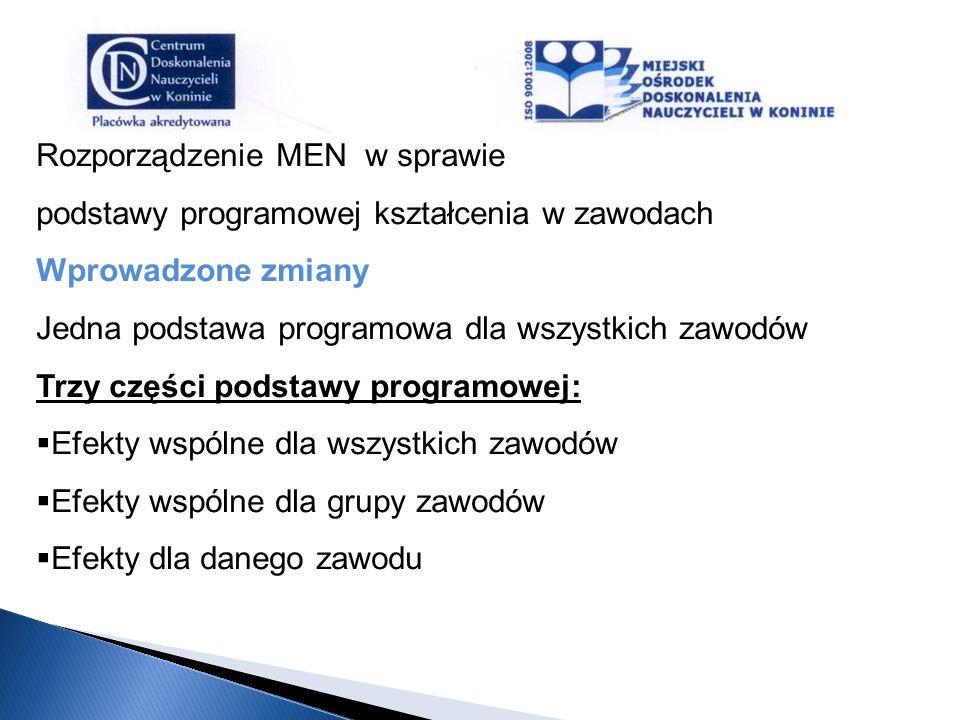 Rozporządzenie MEN w sprawie podstawy programowej kształcenia w zawodach Wprowadzone zmiany Jedna podstawa programowa dla wszystkich zawodów Trzy częś