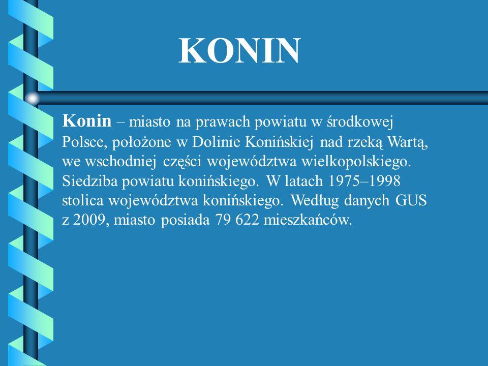 KONIN Konin – miasto na prawach powiatu w środkowej Polsce, położone w Dolinie Konińskiej nad rzeką Wartą, we wschodniej części województwa wielkopols