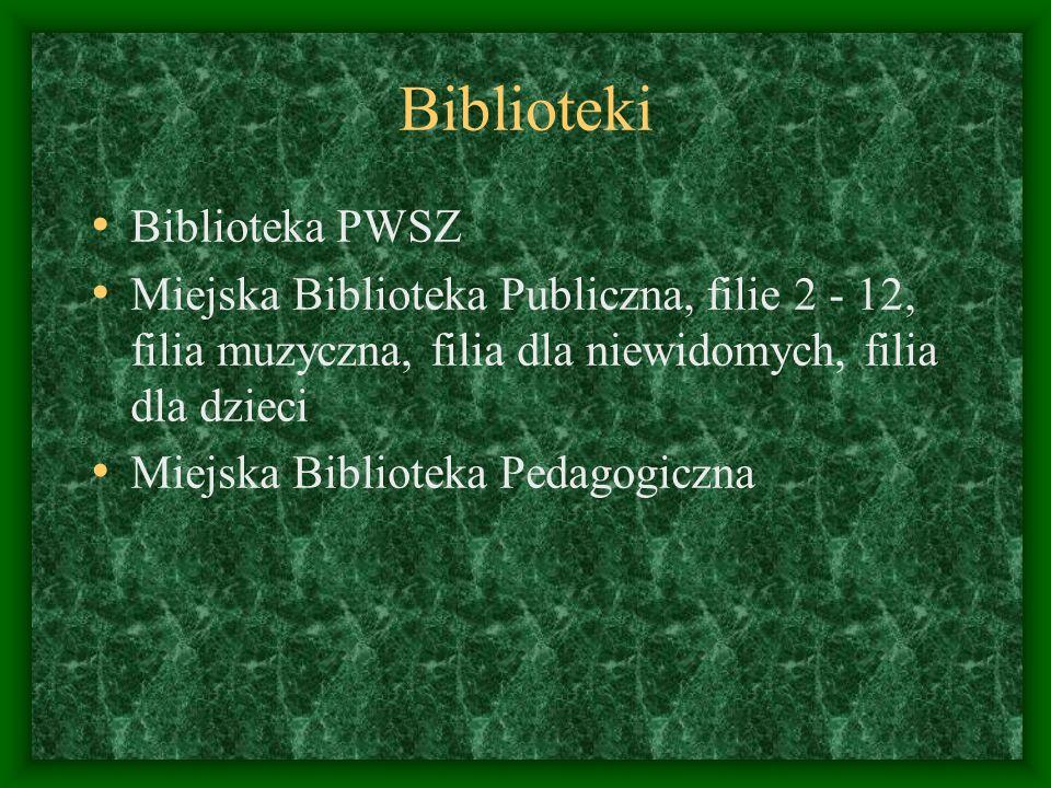 Biblioteki Biblioteka PWSZ Miejska Biblioteka Publiczna, filie 2 - 12, filia muzyczna, filia dla niewidomych, filia dla dzieci Miejska Biblioteka Peda