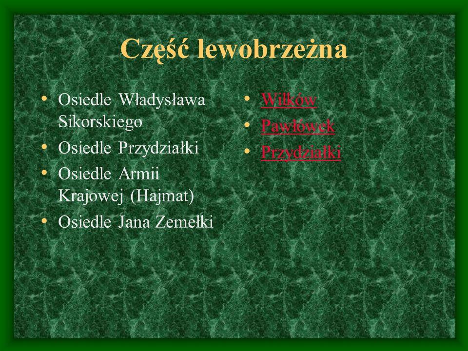 Część lewobrzeżna Osiedle Władysława Sikorskiego Osiedle Przydziałki Osiedle Armii Krajowej (Hajmat) Osiedle Jana Zemełki Wilków Pawłówek Przydziałki