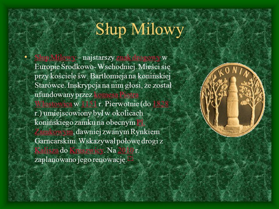 Słup Milowy Słup Milowy – najstarszy znak drogowy w Europie Środkowo- Wschodniej. Mieści się przy kościele św. Bartłomieja na konińskiej Starówce. Ins