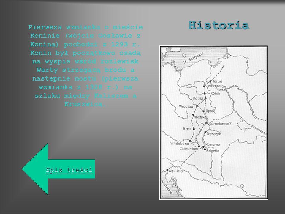 Pierwsza wzmianka o mieście Koninie (wójcie Gosławie z Konina) pochodzi z 1293 r. Konin był początkowo osadą na wyspie wśród rozlewisk Warty strzegącą