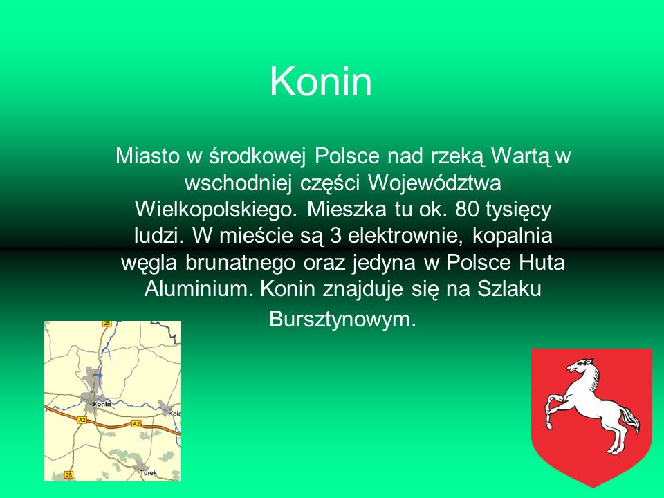 Konin Miasto w środkowej Polsce nad rzeką Wartą w wschodniej części Województwa Wielkopolskiego. Mieszka tu ok. 80 tysięcy ludzi. W mieście są 3 elekt