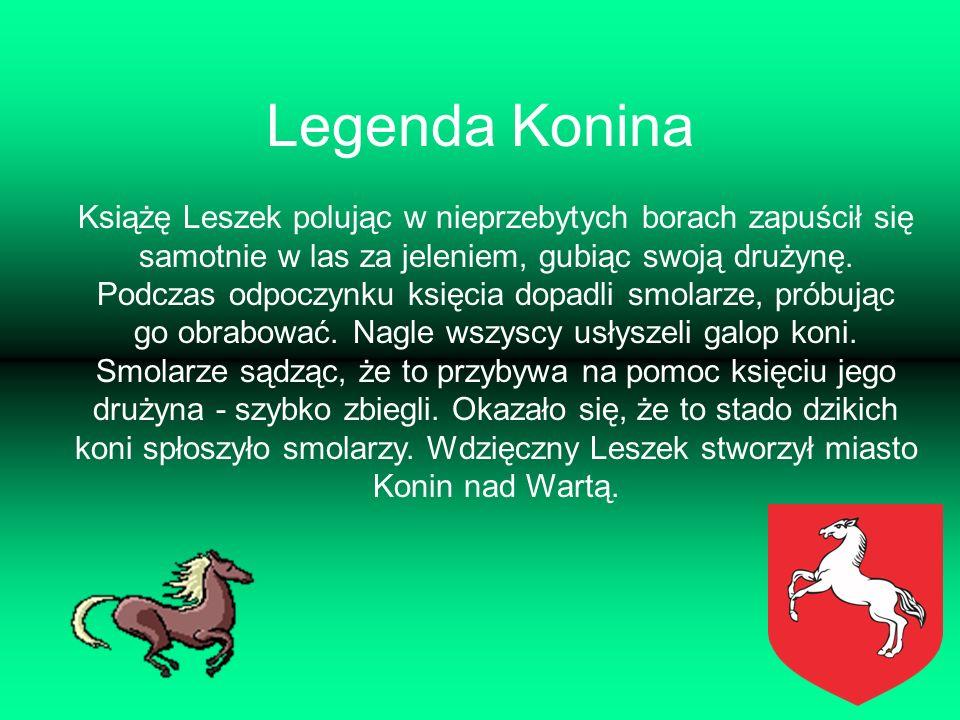 Legenda Konina Książę Leszek polując w nieprzebytych borach zapuścił się samotnie w las za jeleniem, gubiąc swoją drużynę. Podczas odpoczynku księcia