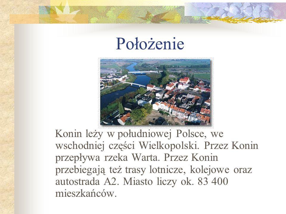 Położenie Konin leży w południowej Polsce, we wschodniej części Wielkopolski. Przez Konin przepływa rzeka Warta. Przez Konin przebiegają też trasy lot