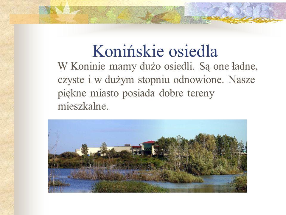 Konińskie osiedla W Koninie mamy dużo osiedli. Są one ładne, czyste i w dużym stopniu odnowione. Nasze piękne miasto posiada dobre tereny mieszkalne.