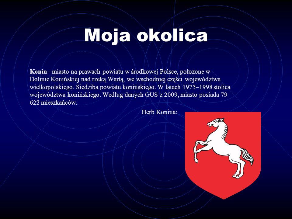 Moja okolica Konin– miasto na prawach powiatu w środkowej Polsce, położone w Dolinie Konińskiej nad rzeką Wartą, we wschodniej części województwa wiel