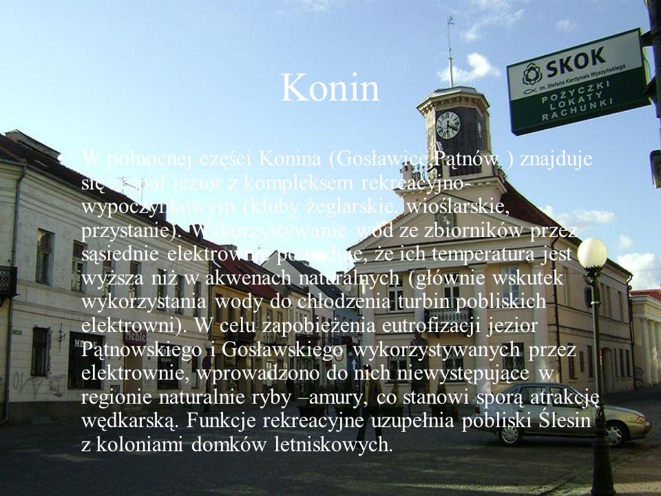 Konin W północnej części Konina (Gosławice,Pątnów ) znajduje się zespół jezior z kompleksem rekreacyjno- wypoczynkowym (kluby żeglarskie, wioślarskie,