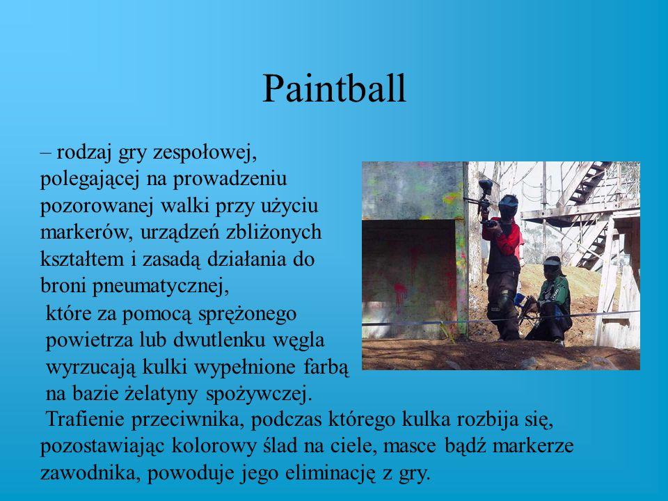 Paintball – rodzaj gry zespołowej, polegającej na prowadzeniu pozorowanej walki przy użyciu markerów, urządzeń zbliżonych kształtem i zasadą działania