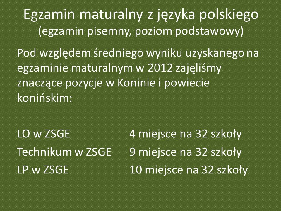 Egzamin maturalny z języka polskiego (egzamin pisemny, poziom podstawowy) Pod względem średniego wyniku uzyskanego na egzaminie maturalnym w 2012 zajęliśmy znaczące pozycje w Koninie i powiecie konińskim: LO w ZSGE 4 miejsce na 32 szkoły Technikum w ZSGE9 miejsce na 32 szkoły LP w ZSGE10 miejsce na 32 szkoły
