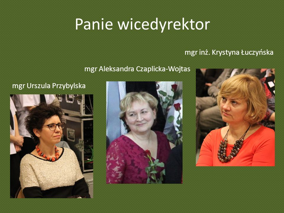 Panie wicedyrektor mgr Urszula Przybylska mgr Aleksandra Czaplicka-Wojtas mgr inż.