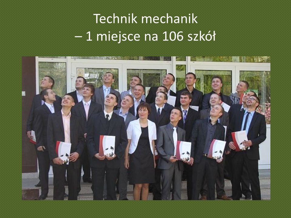 Technik mechanik – 1 miejsce na 106 szkół
