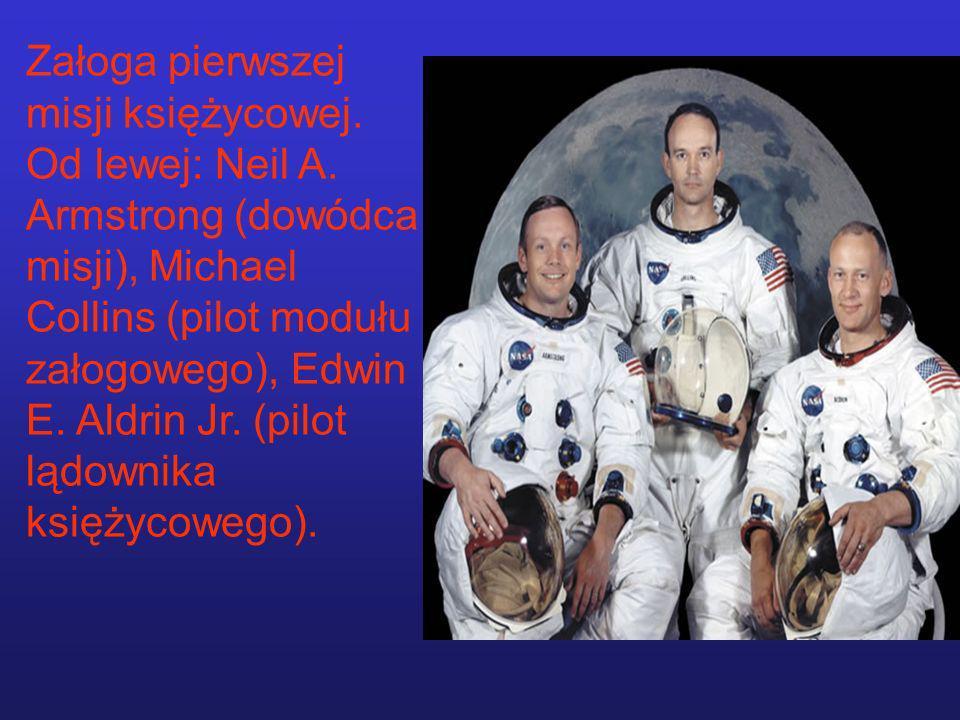 Załoga pierwszej misji księżycowej. Od lewej: Neil A. Armstrong (dowódca misji), Michael Collins (pilot modułu załogowego), Edwin E. Aldrin Jr. (pilot