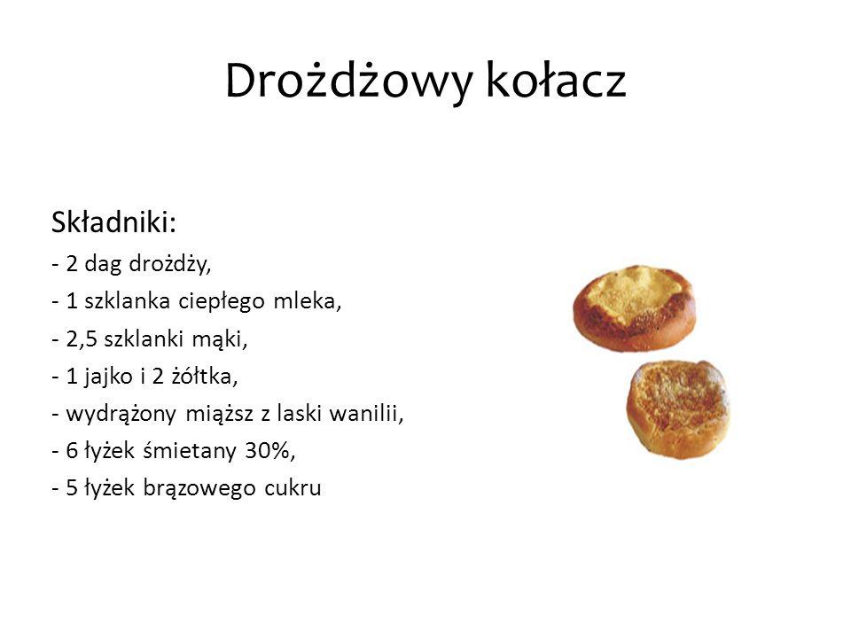 Drożdżowy kołacz Składniki: - 2 dag drożdży, - 1 szklanka ciepłego mleka, - 2,5 szklanki mąki, - 1 jajko i 2 żółtka, - wydrążony miąższ z laski wanili