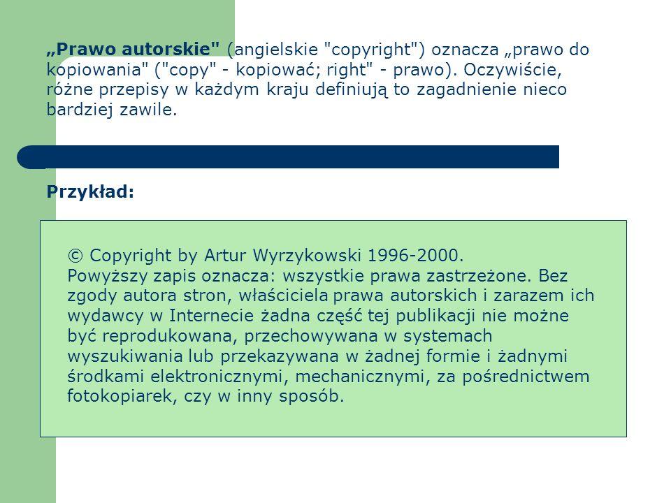 Piractwo komputerowe: Piractwo komputerowe niszczenie danych, rozpowszechnianie komputerowych wirusów włamania do systemu kradzież prywatnych lub poufnych baz danych Najczęściej spotykanym przestępstwem komputerowym jest piractwo komputerowe, nagminne, słabo ścigane przestępstwo, polegające na produkcji, dystrybucji i sprzedaży nielegalnych kopii oprogramowania.
