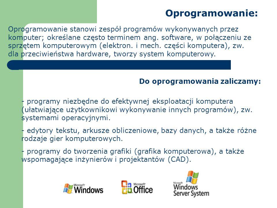Oprogramowanie: Oprogramowanie stanowi zespół programów wykonywanych przez komputer; określane często terminem ang. software, w połączeniu ze sprzętem