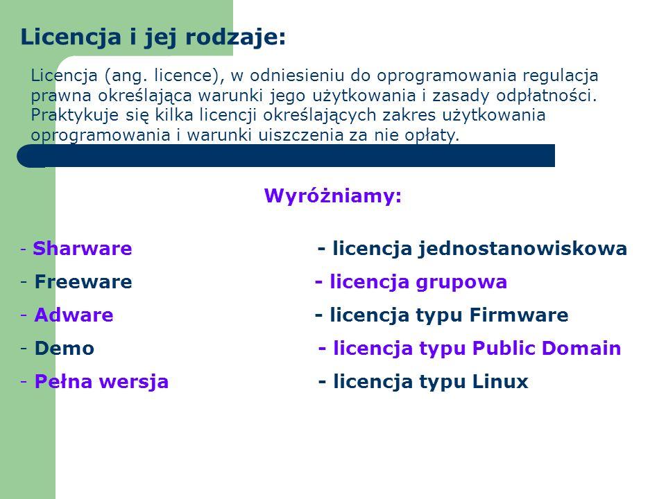 Licencja i jej rodzaje: Licencja (ang. licence), w odniesieniu do oprogramowania regulacja prawna określająca warunki jego użytkowania i zasady odpłat