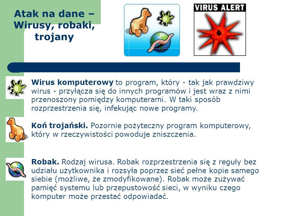 Atak na dane – Wirusy, robaki, trojany Wirus komputerowy to program, który - tak jak prawdziwy wirus - przyłącza się do innych programów i jest wraz z