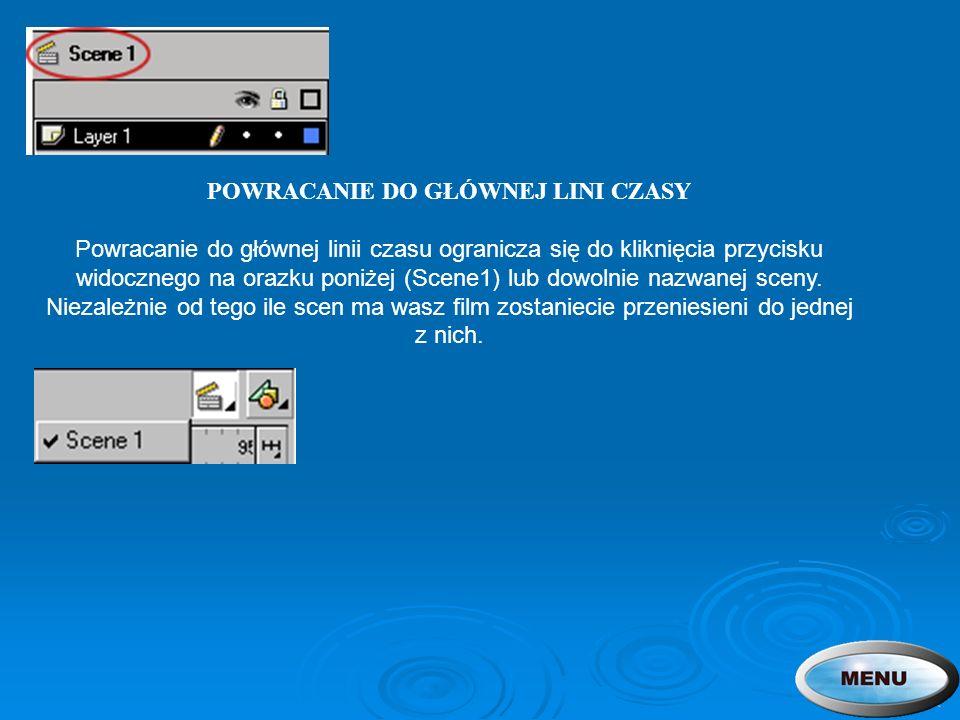 POWRACANIE DO GŁÓWNEJ LINI CZASY Powracanie do głównej linii czasu ogranicza się do kliknięcia przycisku widocznego na orazku poniżej (Scene1) lub dow