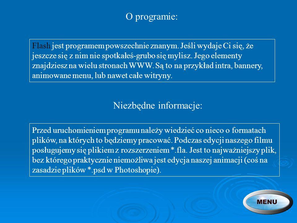 O programie: Flash jest programem powszechnie znanym. Jeśli wydaje Ci się, że jeszcze się z nim nie spotkałeś-grubo się mylisz. Jego elementy znajdzie