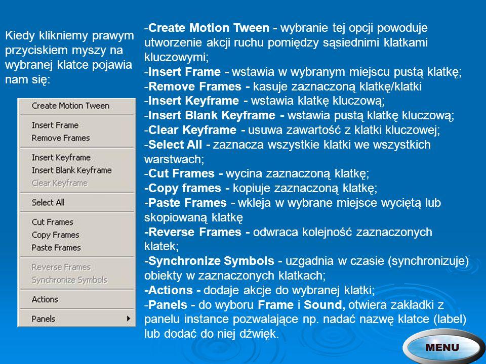 -Create Motion Tween - wybranie tej opcji powoduje utworzenie akcji ruchu pomiędzy sąsiednimi klatkami kluczowymi; -Insert Frame - wstawia w wybranym