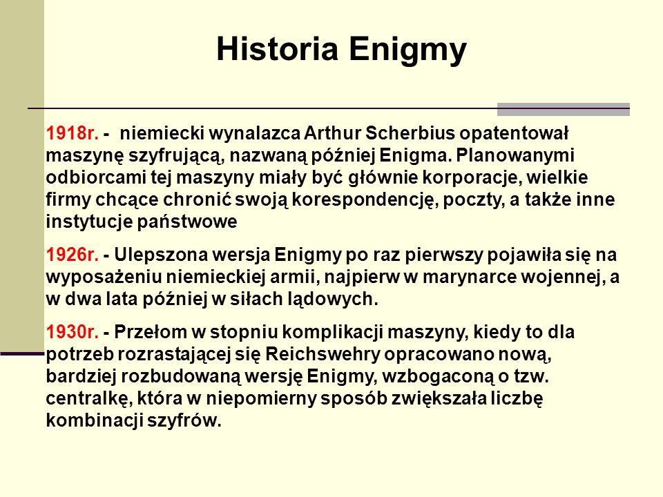 Historia Enigmy 1918r. - niemiecki wynalazca Arthur Scherbius opatentował maszynę szyfrującą, nazwaną później Enigma. Planowanymi odbiorcami tej maszy