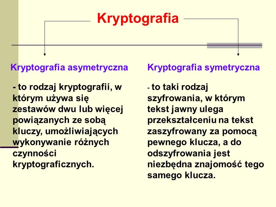 Kryptografia asymetryczna Najważniejsze zastosowania kryptografii asymetrycznej – szyfrowanie i podpisy cyfrowe – zakładają istnienie 2 kluczy – prywatnego i publicznego, przy czym klucza prywatnego nie da się łatwo odtworzyć na podstawie publicznego, w niektórych innych zastosowaniach kluczy może być więcej.