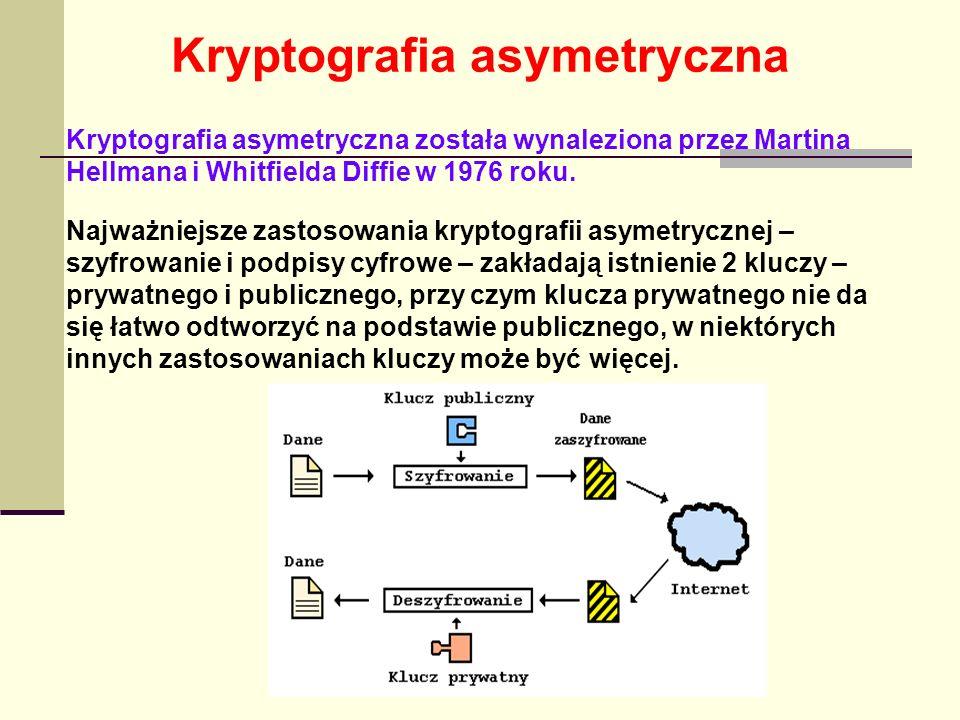 Kryptografia asymetryczna Najważniejsze zastosowania kryptografii asymetrycznej – szyfrowanie i podpisy cyfrowe – zakładają istnienie 2 kluczy – prywa