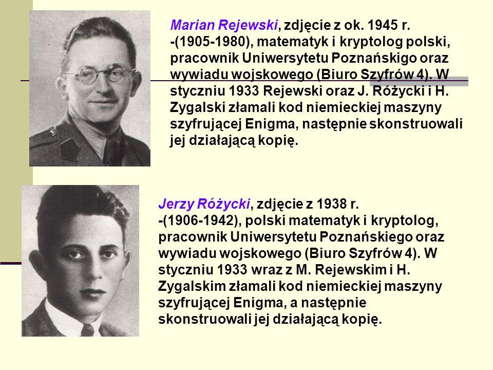 Marian Rejewski, zdjęcie z ok. 1945 r. -(1905-1980), matematyk i kryptolog polski, pracownik Uniwersytetu Poznańskigo oraz wywiadu wojskowego (Biuro S