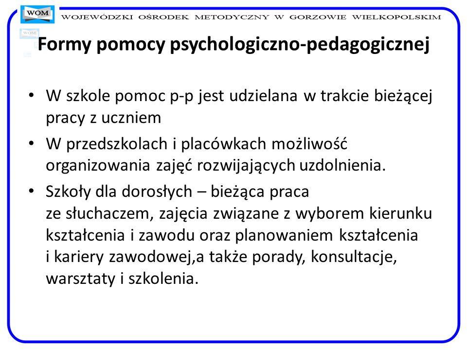 Formy pomocy psychologiczno-pedagogicznej W szkole pomoc p-p jest udzielana w trakcie bieżącej pracy z uczniem W przedszkolach i placówkach możliwość