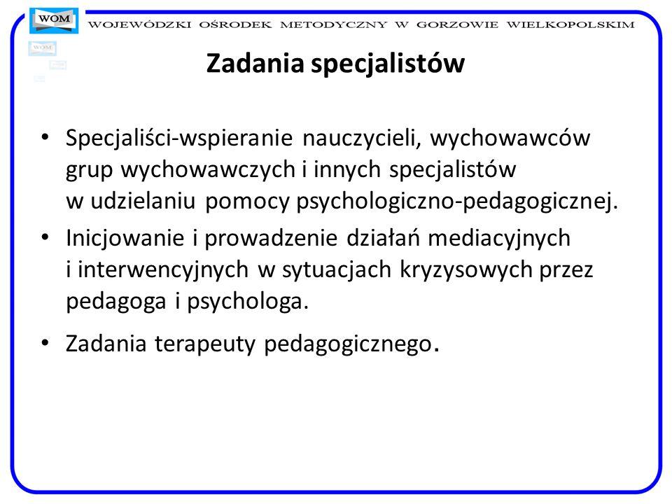 Zadania specjalistów Specjaliści-wspieranie nauczycieli, wychowawców grup wychowawczych i innych specjalistów w udzielaniu pomocy psychologiczno-pedag