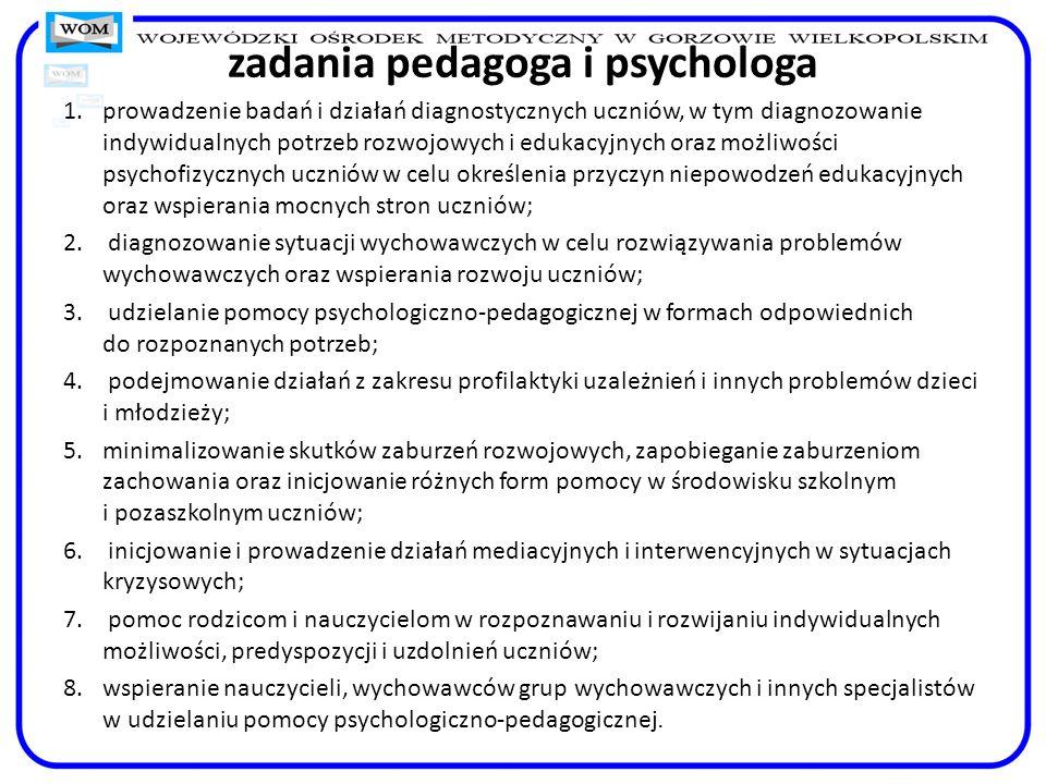 zadania pedagoga i psychologa 1.prowadzenie badań i działań diagnostycznych uczniów, w tym diagnozowanie indywidualnych potrzeb rozwojowych i edukacyj