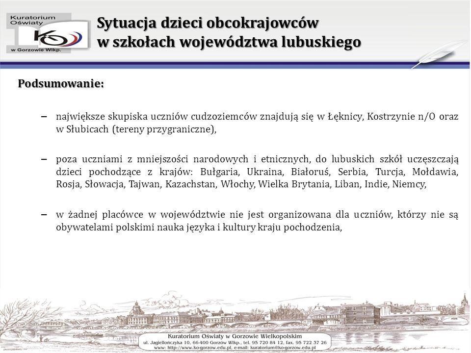 Sytuacja dzieci obcokrajowców w szkołach województwa lubuskiego Podsumowanie: – największe skupiska uczniów cudzoziemców znajdują się w Łęknicy, Kostrzynie n/O oraz w Słubicach (tereny przygraniczne), – poza uczniami z mniejszości narodowych i etnicznych, do lubuskich szkół uczęszczają dzieci pochodzące z krajów: Bułgaria, Ukraina, Białoruś, Serbia, Turcja, Mołdawia, Rosja, Słowacja, Tajwan, Kazachstan, Włochy, Wielka Brytania, Liban, Indie, Niemcy, – w żadnej placówce w województwie nie jest organizowana dla uczniów, którzy nie są obywatelami polskimi nauka języka i kultury kraju pochodzenia,