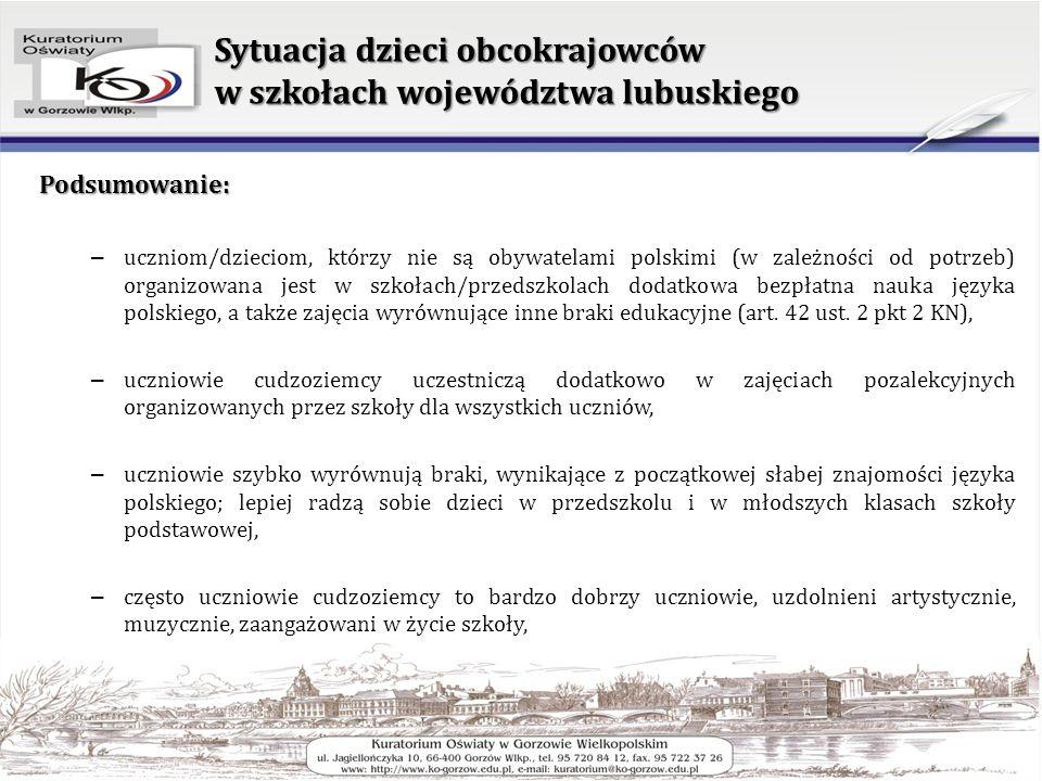 Sytuacja dzieci obcokrajowców w szkołach województwa lubuskiego Podsumowanie: – uczniom/dzieciom, którzy nie są obywatelami polskimi (w zależności od potrzeb) organizowana jest w szkołach/przedszkolach dodatkowa bezpłatna nauka języka polskiego, a także zajęcia wyrównujące inne braki edukacyjne (art.