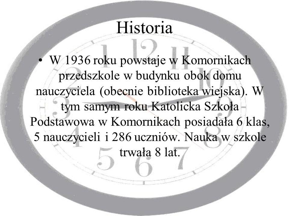 Historia W 1936 roku powstaje w Komornikach przedszkole w budynku obok domu nauczyciela (obecnie biblioteka wiejska). W tym samym roku Katolicka Szkoł