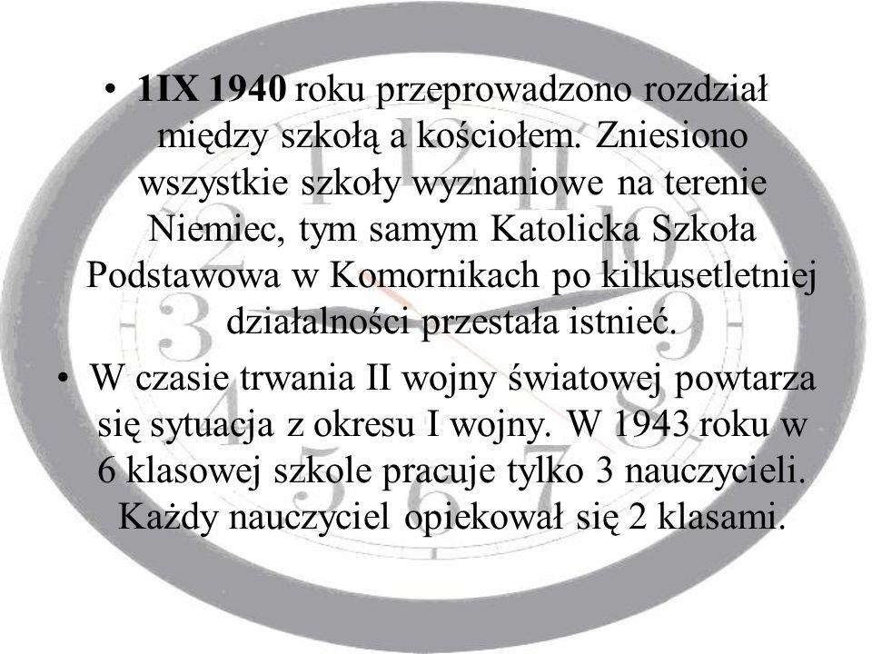 1IX 1940 roku przeprowadzono rozdział między szkołą a kościołem. Zniesiono wszystkie szkoły wyznaniowe na terenie Niemiec, tym samym Katolicka Szkoła