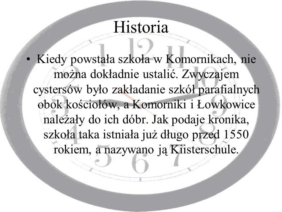 Historia Kiedy powstała szkoła w Komornikach, nie można dokładnie ustalić. Zwyczajem cystersów było zakładanie szkół parafialnych obok kościołów, a Ko