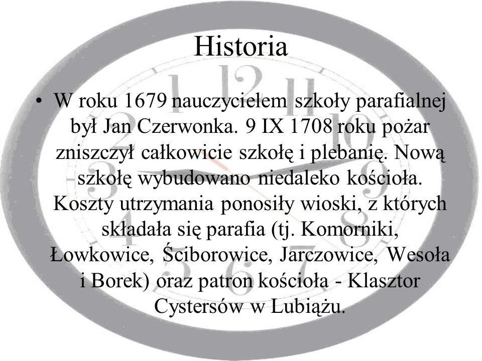 Historia W roku 1679 nauczycielem szkoły parafialnej był Jan Czerwonka. 9 IX 1708 roku pożar zniszczył całkowicie szkołę i plebanię. Nową szkołę wybud