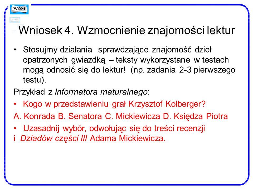 Wniosek 4. Wzmocnienie znajomości lektur Stosujmy działania sprawdzające znajomość dzieł opatrzonych gwiazdką – teksty wykorzystane w testach mogą odn