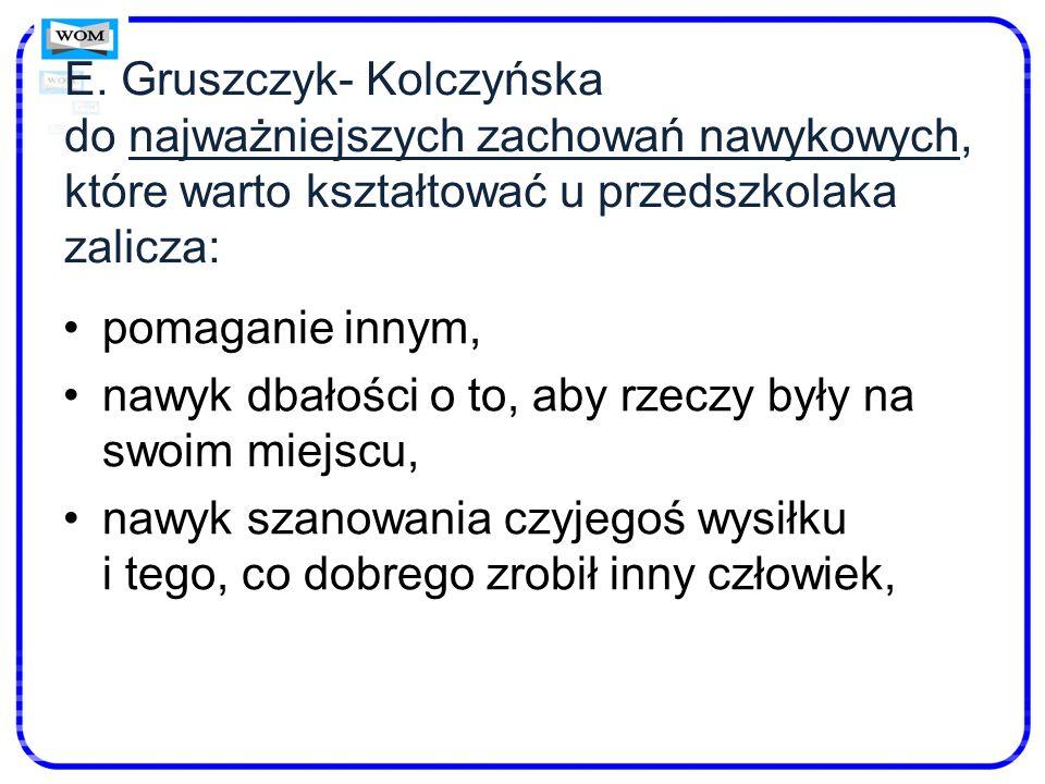 E. Gruszczyk- Kolczyńska do najważniejszych zachowań nawykowych, które warto kształtować u przedszkolaka zalicza: pomaganie innym, nawyk dbałości o to
