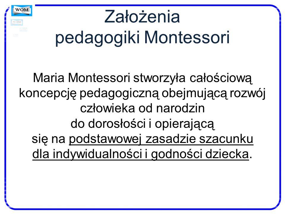 Założenia pedagogiki Montessori Maria Montessori stworzyła całościową koncepcję pedagogiczną obejmującą rozwój człowieka od narodzin do dorosłości i o